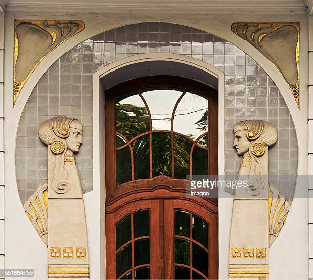 Portal with profiles of two girls at a residential house at Dannebergplatz 11 Built 19061907 by the architect Georg Berger Landstrasse Vienna 3 2013...