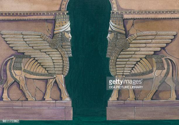 Portal with winged bulls with human heads drawing Iraq Assyrian civilization