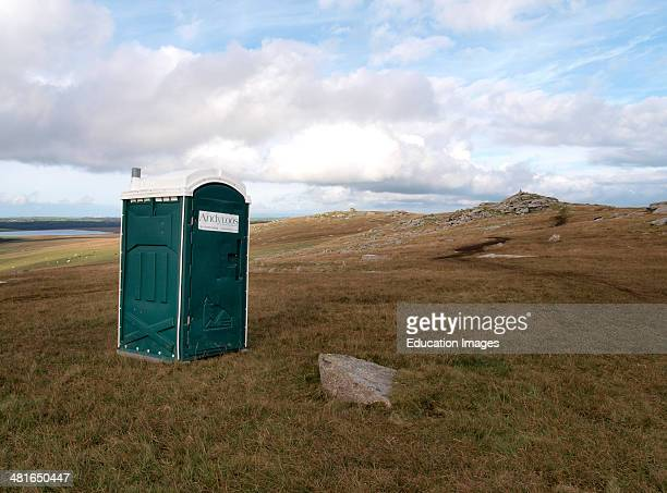 Portaloo in the middle of nowhere on Roughtor Davidstow Bodmin Moor Cornwall UK