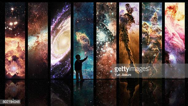 portals to galactic wonder - copy space stockfoto's en -beelden
