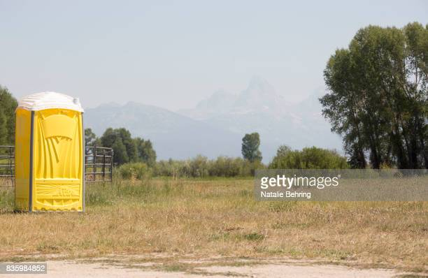 A portapotty waits for eclipse campers on August 20 2017 at the rodeo grounds in Tetonia Idaho On Sunday afternoon two tents were seen at the...