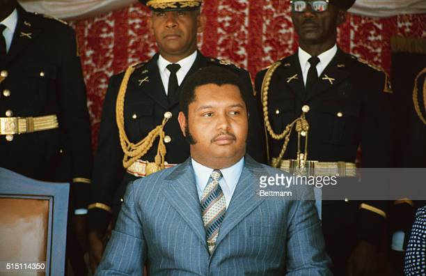 Close up of President JeanClaude Duvalier during press conference