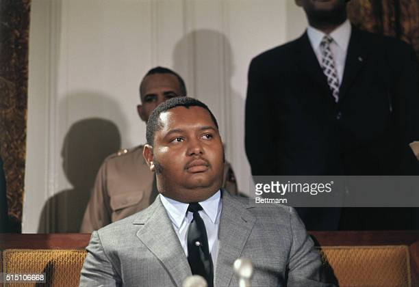 Haitian president Jean Claude Duvalier holds a news conference at the presidential palace here