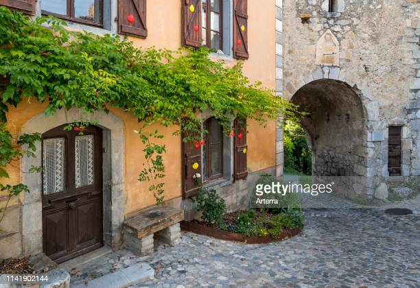Porte Majou, medieval town gate in the village Saint-Bertrand-de-Comminges, Haute-Garonne, Pyrenees, France.