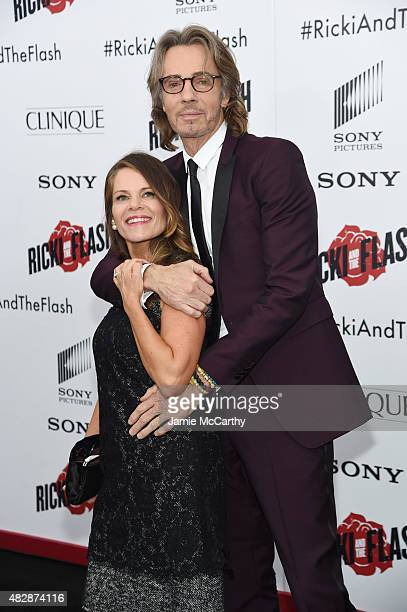 Porter Barbara and Musician Rick Springfield attend the New York premier of Ricki And The Flash at AMC Lincoln Square Theater on August 3 2015 in New...