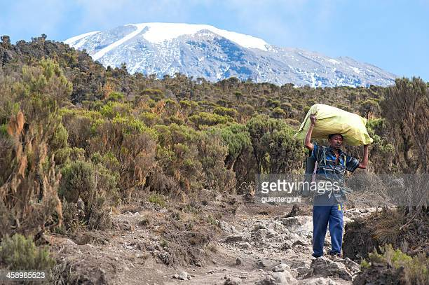 Porter is carrying luggage down from Mount Kilimanjaro, Tanzania