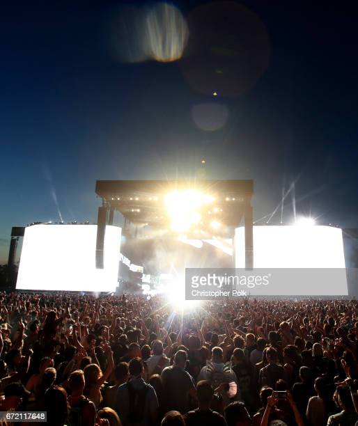 Porter Robinson Madeon perform on the Coachella Stage during day 3 of the 2017 Coachella Valley Music Arts Festival at the Empire Polo Club on April...