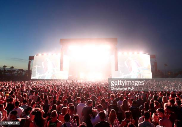 Porter Robinson Madeon performs on the Coachella Stage during day 3 of the 2017 Coachella Valley Music Arts Festival at the Empire Polo Club on April...