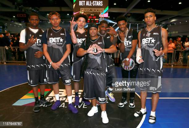 TJ Porter YBN Cordae Lil Mosey Rapsody YFN Lucci A Boogie wit da Hoodie and NLE Choppa play in the BETX Celebrity Basketball Game Sponsored By Sprite...