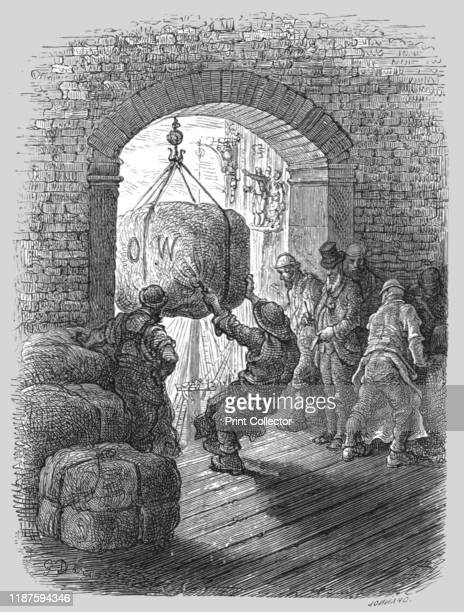 Porters at Work' 1872 Taking cargo at London Docks From LONDON A Pilgrimage by Gustave Dore and Blanchard Jerrold [Grant and Co 7278 Turnmill Street...