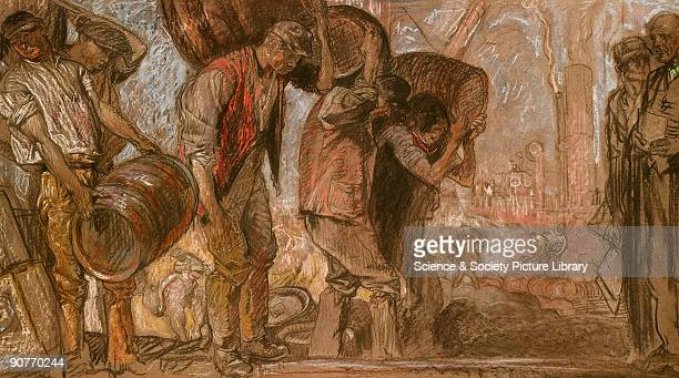 Porters carrying barrels on their backs with the overseer on the right and the smoking chimneys of a brewery in the background Plate by Frank...