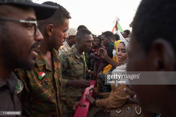 May 02: Portesters face off against the military pushing their front lines from the sidewalk closer to the military headquarters gates on May 02,...