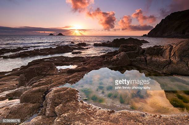 Porth Nanven sunset, St Just, Lands end. Cornwall. UK