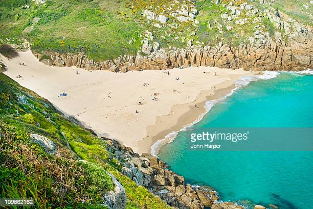 porthcurno beach, cornwall - porthcurno stock pictures, royalty-free photos & images