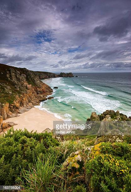 Porthcurno Beach from the cliffs