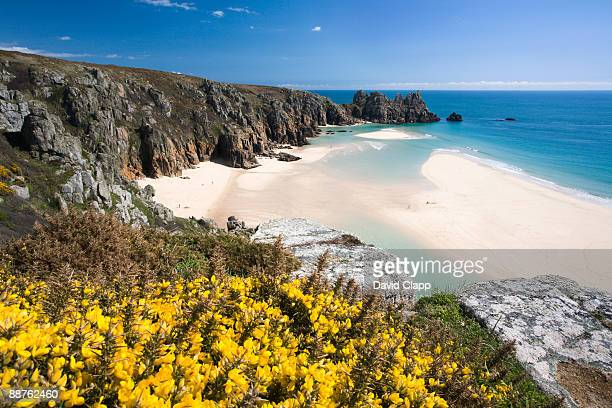 porthcurno towards logans rock, conwall, england - porthcurno stock pictures, royalty-free photos & images