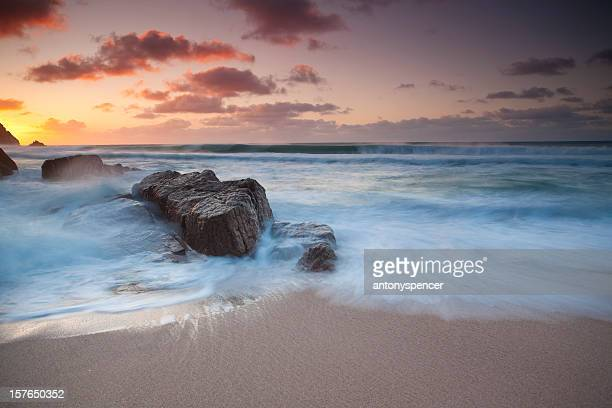 porthcurno winter sunrise - st. ives cornwall stock pictures, royalty-free photos & images