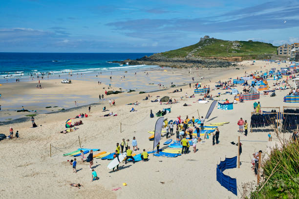 Porthmeor beach with tourists in St Ives, Cornwall