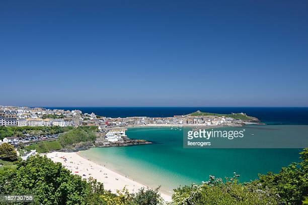 Porthminster beach und St. Ives an der Küste von Cornwall