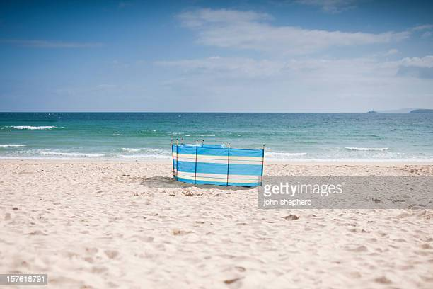 porthminster beach on a sunny june morning - windbreak stock pictures, royalty-free photos & images