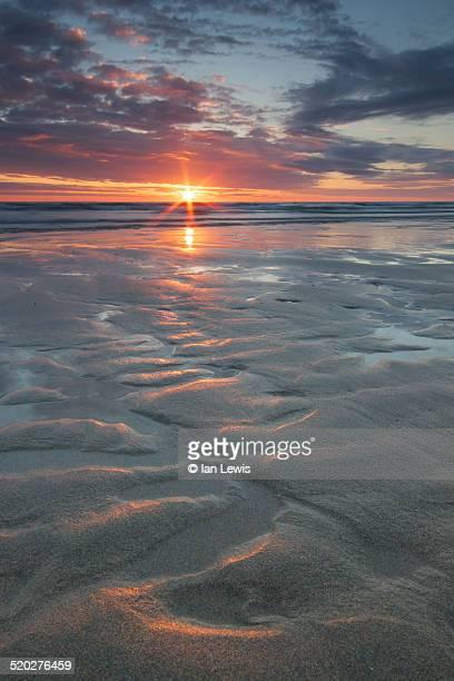 Porthtowan beach sunset, Cornwall, England