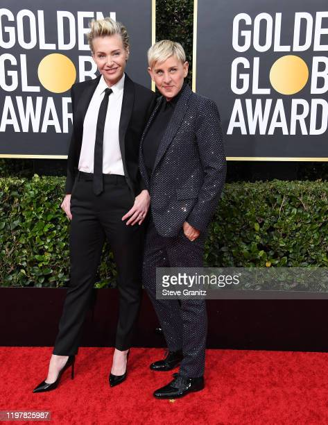 Portia de Rossi and Ellen DeGeneres arrives at the 77th Annual Golden Globe Awards attends the 77th Annual Golden Globe Awards at The Beverly Hilton...