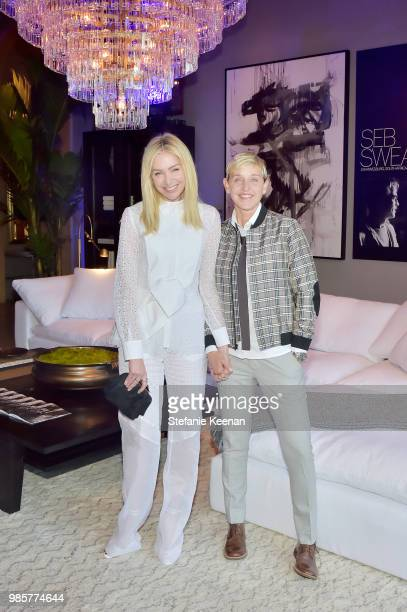 Portia de Rossi and Ellen DeGeneres attend GENERAL PUBLIC x RH Celebration at Restoration Hardware on June 27 2018 in Los Angeles California