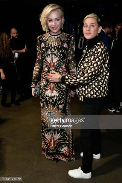 Portia de Rossi and Ellen DeGeneres attend the 62nd Annual GRAMMY Awards at STAPLES Center on January 26 2020 in Los Angeles California