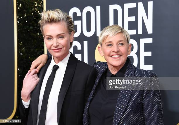 Portia de Rossi and Ellen DeGeneres attend the 77th Annual Golden Globe Awards at The Beverly Hilton Hotel on January 05, 2020 in Beverly Hills,...