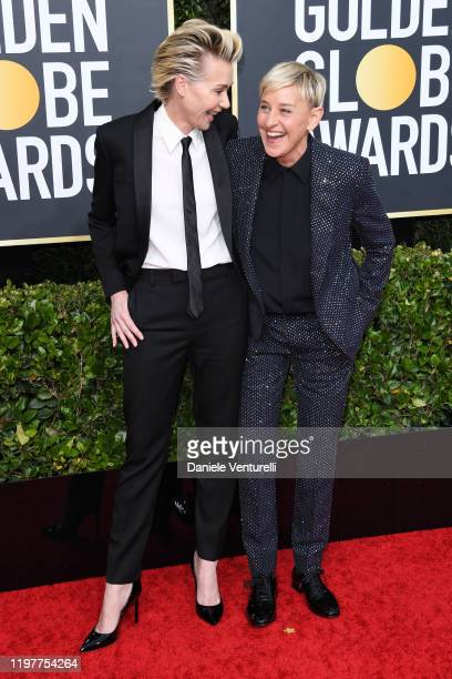 Portia de Rossi and Ellen DeGeneres attend the 77th Annual Golden Globe Awards at The Beverly Hilton Hotel on January 05 2020 in Beverly Hills...