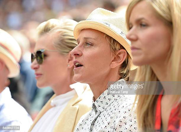 Portia de Rossi and Ellen DeGeneres attend the Men's Final of the Wimbledon Tennis Championships between Milos Raonic and Andy Murray at Wimbledon on...