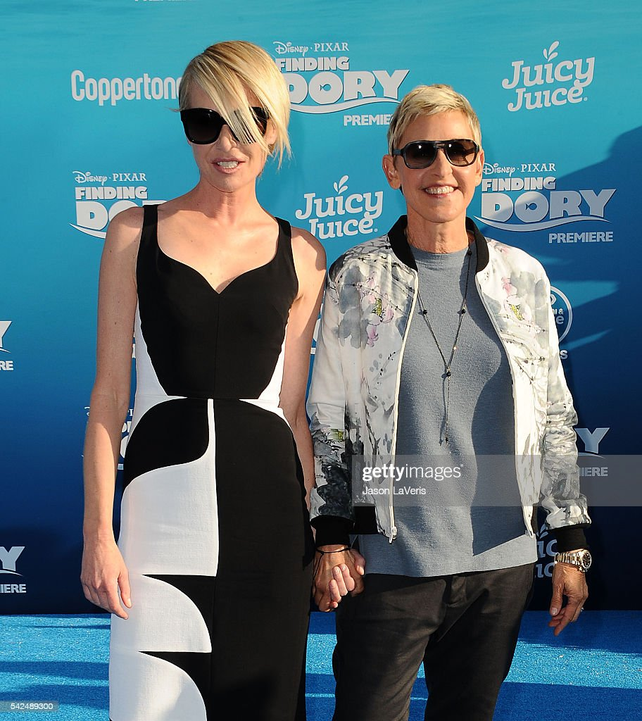 Portia de Rossi and Ellen DeGeneres attend the premiere of 'Finding Dory' at the El Capitan Theatre on June 8, 2016 in Hollywood, California.