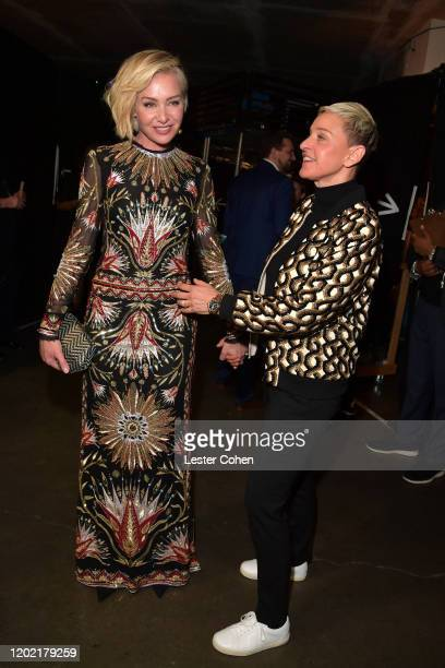 Portia de Rossi and Ellen DeGeneres attends the 62nd Annual GRAMMY Awards at STAPLES Center on January 26 2020 in Los Angeles California