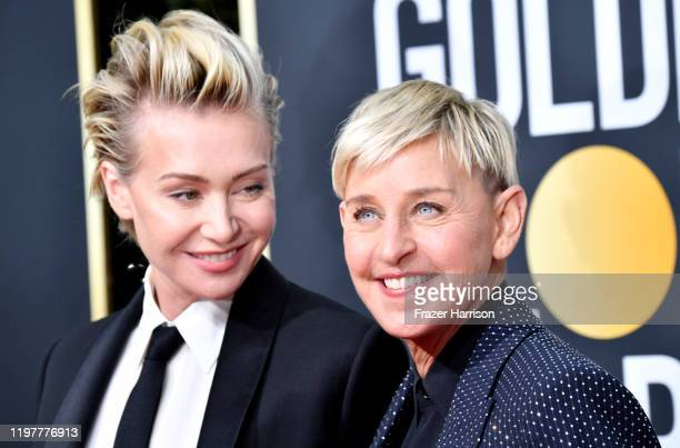Portia de Rossi and Ellen DeGeneres attends the 77th Annual Golden Globe Awards at The Beverly Hilton Hotel on January 05 2020 in Beverly Hills...