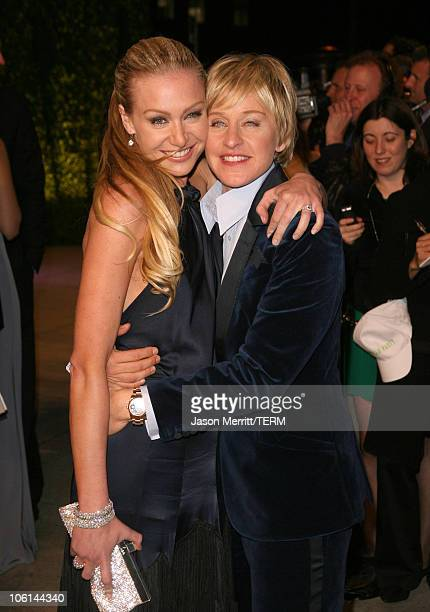 Portia de Rossi and Ellen DeGeneres during 2007 Vanity Fair Oscar Party Hosted by Graydon Carter at Mortons in West Hollywood California United States