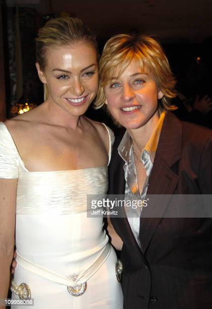 Portia de Rossi and Ellen DeGeneres during HBO Golden Globe Awards Party - Inside at Beverly Hills Hilton in Beverly Hills, California, United States.