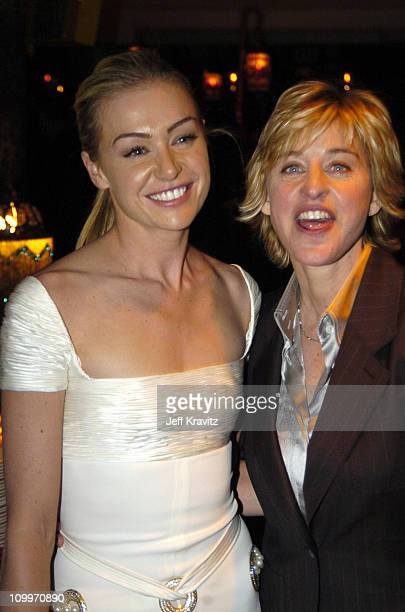 Portia de Rossi and Ellen DeGeneres during HBO Golden Globe Awards Party Inside at Beverly Hills Hilton in Beverly Hills California United States