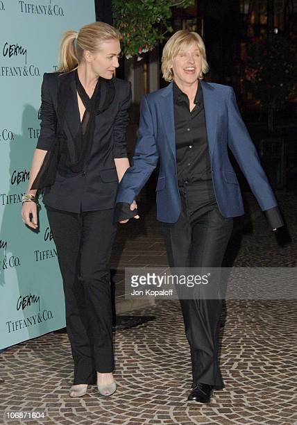 Portia de Rossi and Ellen DeGeneres during Tiffany Co Celebrates The Launch Of Frank Gehry's Premiere Collection On Rodeo Drive Arrivals at Tiffany...