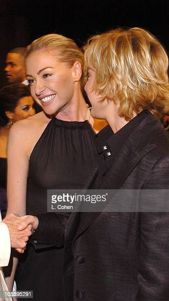 Portia de Rossi and Ellen DeGeneres during TNT Broadcasts 11th Annual Screen Actors Guild Awards Backstage and Audience at Shrine Auditorium in Los...