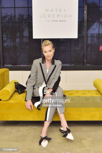 Portia de Rossi attends the Nate and Jeremiah for Living Spaces Upholstery Collection Launch at Casita Hollywood on October 3, 2018 in Los Angeles,...