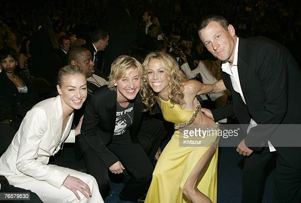 Portia de Rossi Ellen DeGeneres Sheryl Crow and Lance Armstrong Photo by Kevin Mazur/WireImage for The Recording Academy