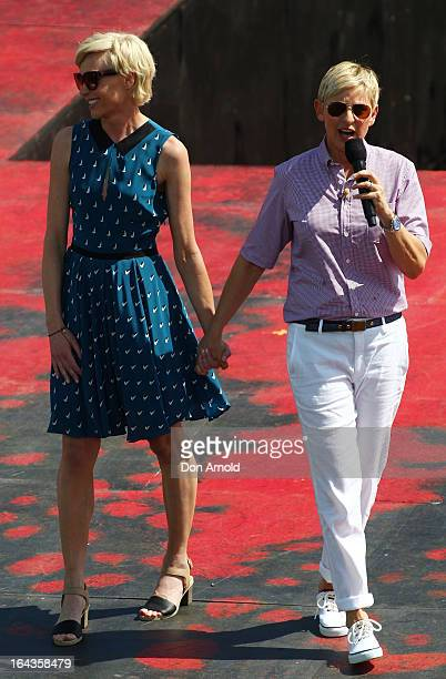 Portia di Rossi and Ellen DeGeneres are seen on the set of her televion show being filmed on a stage above Sydney Harbour on March 23 2013 in Sydney...