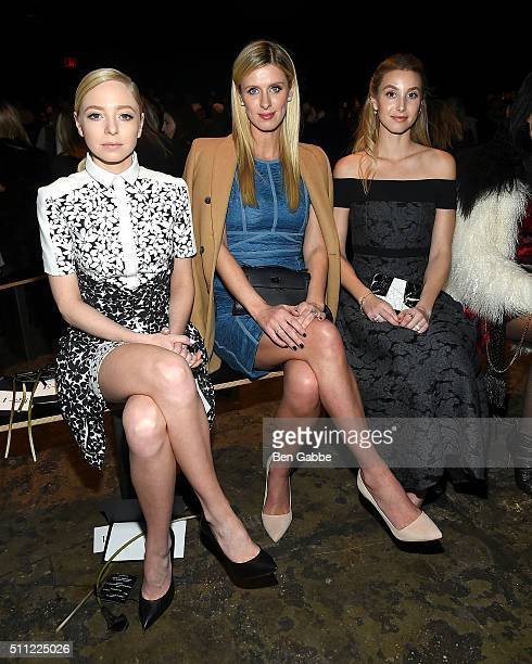 Portia Doubleday Nicky Hilton and Whitney Port attend the J Mendel fashion show during Fall 2016 New York Fashion Week at Cedar Lake on February 18...