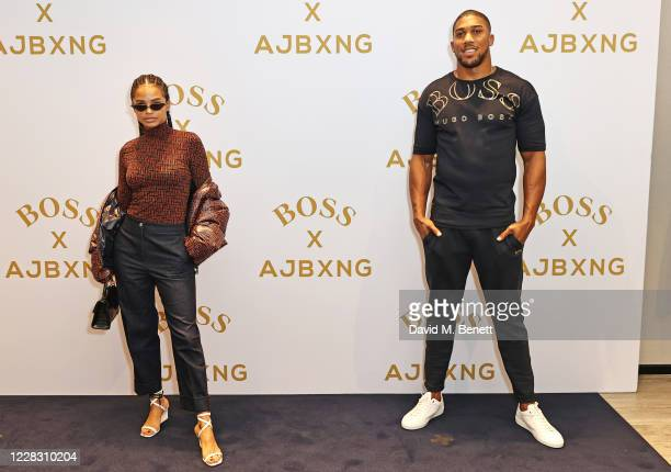 Portia Ferrari and Anthony Joshua attend the BOSS capsule collection photocall with Anthony Joshua at Hugo Boss Regent Street on September 2, 2020 in...