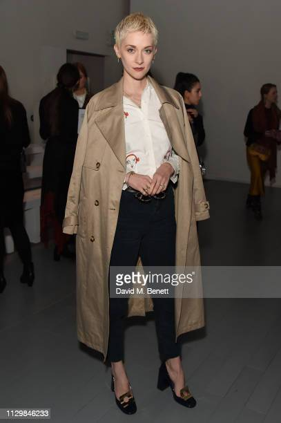 Portia Freeman attends the Bora Aksu show during London Fashion Week February 2019 at BFC Show Space on February 15 2019 in London England