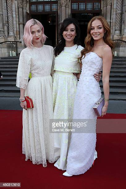 Portia Freeman Daisy Lowe and Clara Paget attend a gala dinner and auction to celebate the end of the Cash Rocket tour at Natural History Museum on...