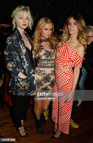 Portia Freeman Paris Hilton and Jade Williams attend the launch of Restaurant Ours in Kensington on April 27 2016 in London England