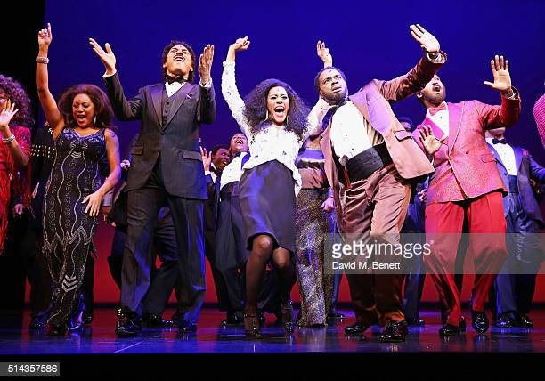 Portia Harry Charl Brown Lucy St Louis Cedric Neal and Sifiso Mazibuko bow at the curtain call during the press night performance of Motown The...