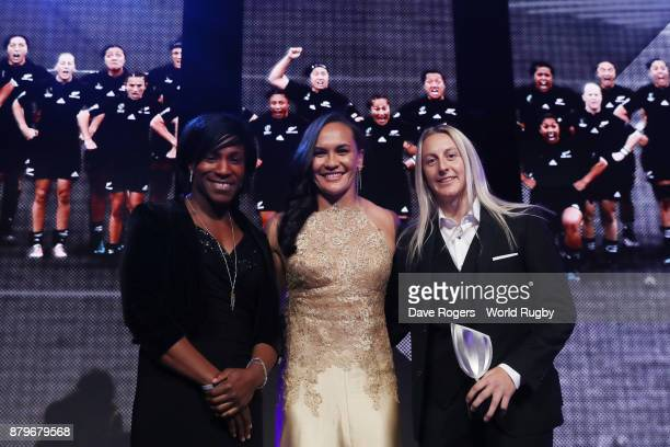 Portia Woodman and Kelly Brazier of New Zealand receive the World Rugby Team of the Year Award from Maggie Alphonsi during the World Rugby Awards...