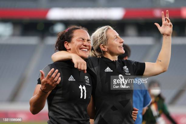 Portia Woodman and Kelly Brazier of Team New Zealand celebrate after defeating Team France in the Women's Gold Medal match between Team New Zealand...